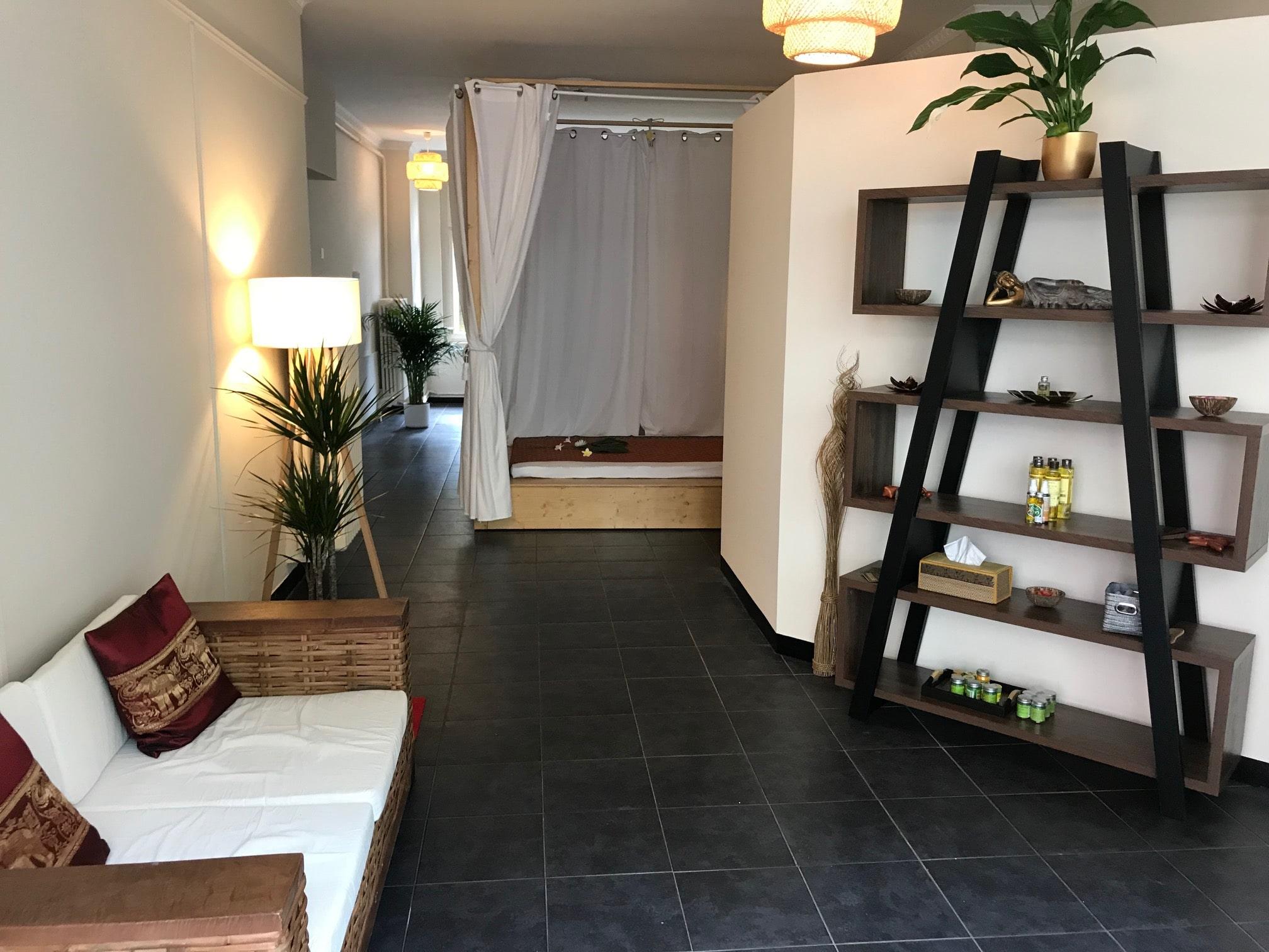 salon avec canapé, étagère, plantes et podium en bois