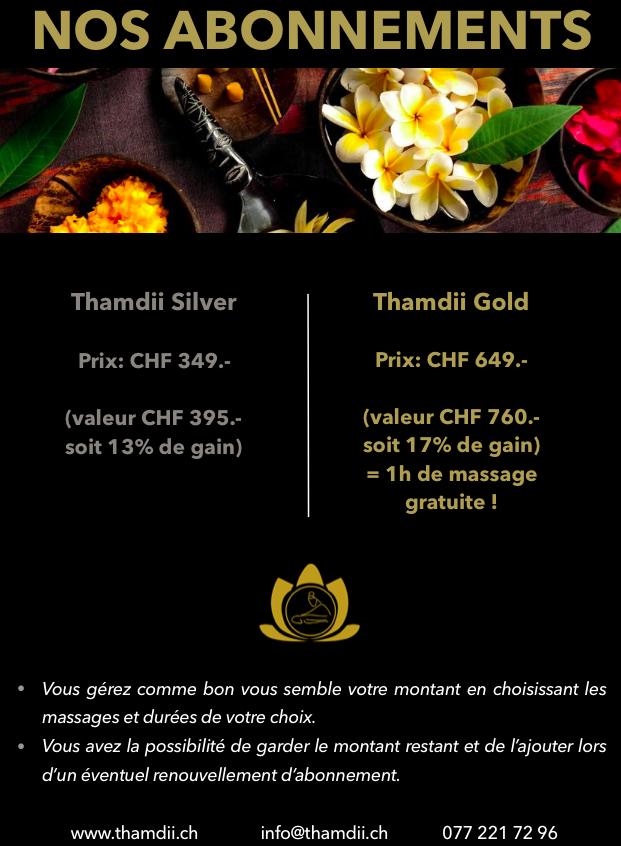 carte abonnement massages avec fond noir et images fleurs