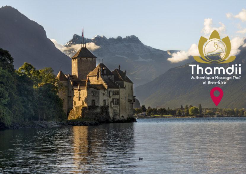 château sur lac et logo massage doré